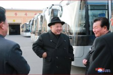 Kim Jong Un Inspects Pyongyang Trolley Bus Factory