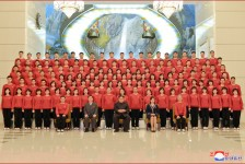 Kim Jong Un Has Photo Session with Members of Samjiyon Orchestra