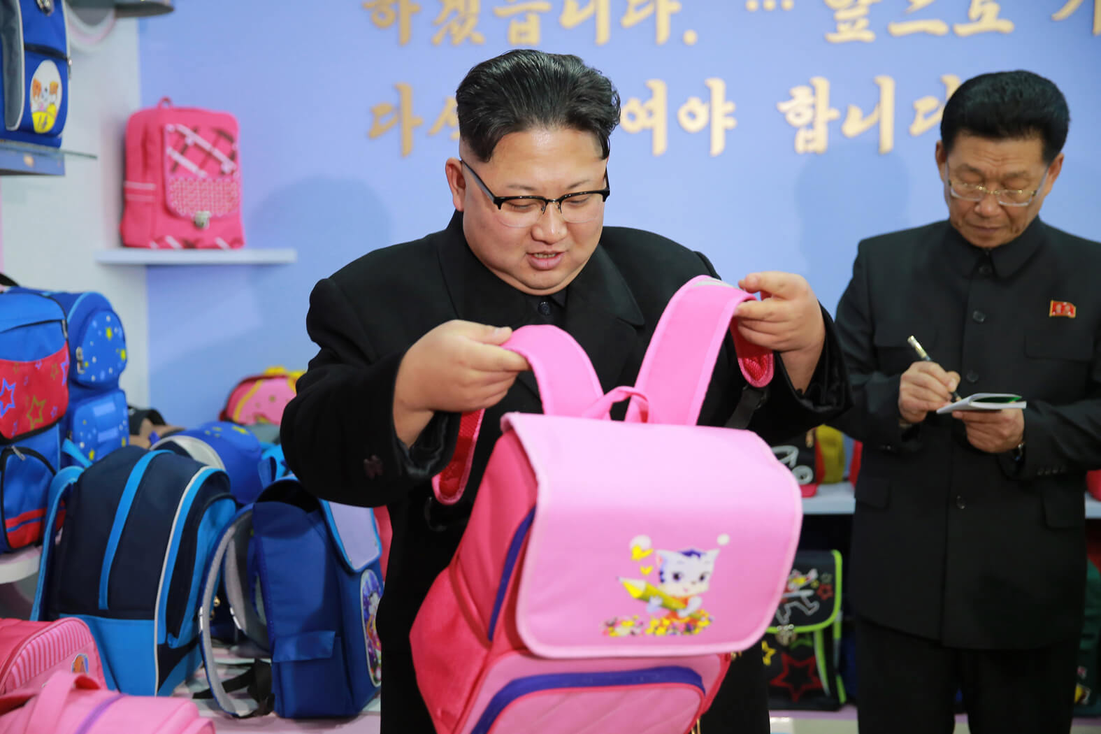 Kim Jong Un giving field guidance at the Pyongyang Bag Factory in January 2017