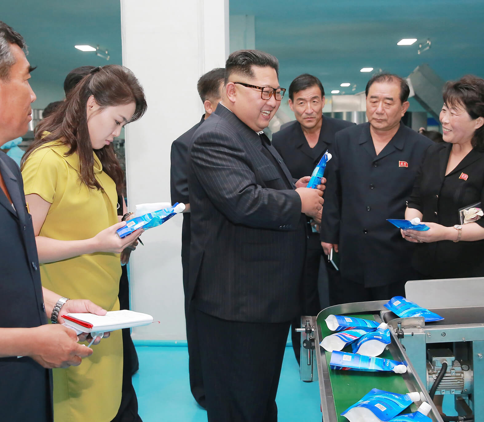 Kim Jong Un at the Sinuiju Cosmetics Factory in June 2018