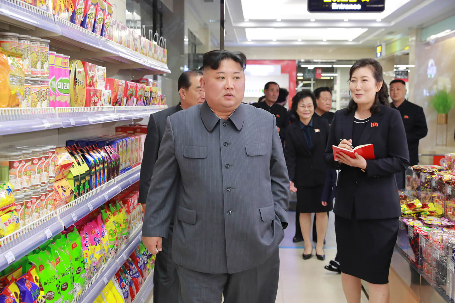 Kim Jong Un looking round the reconstructed Daesong Department  Store in April 2019