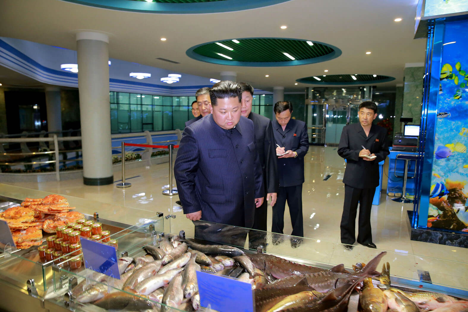 Kim Jong Un at the Pyongyang Taedonggang Fish Restaurant in June 2018