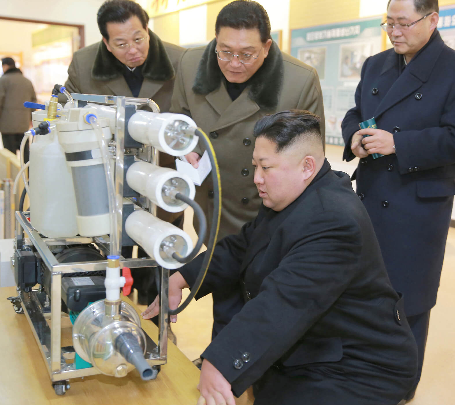 Kim Jong Un giving field guidance at the State Academy of Sciences in January 2018