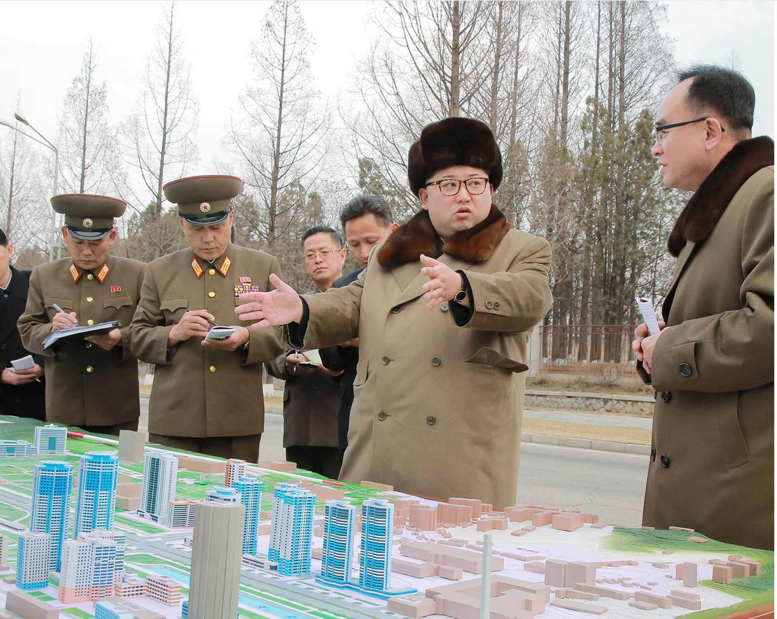 Kim Jong Un guiding the construction project of Ryomyong Street in March 2016