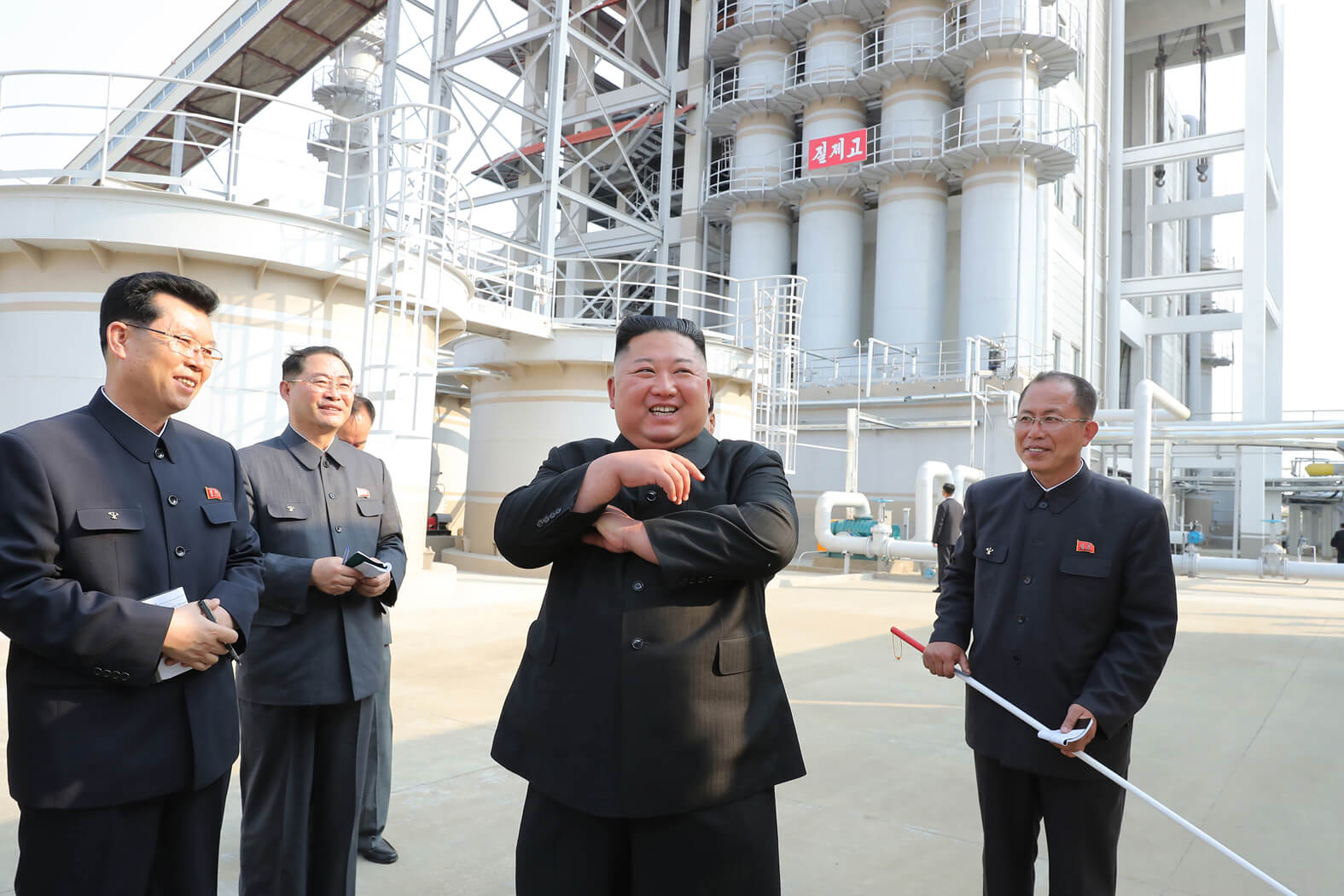 Kim Jong Un looking round the Sunchon Phosphate Fertilizer Factory newly built in May 2020