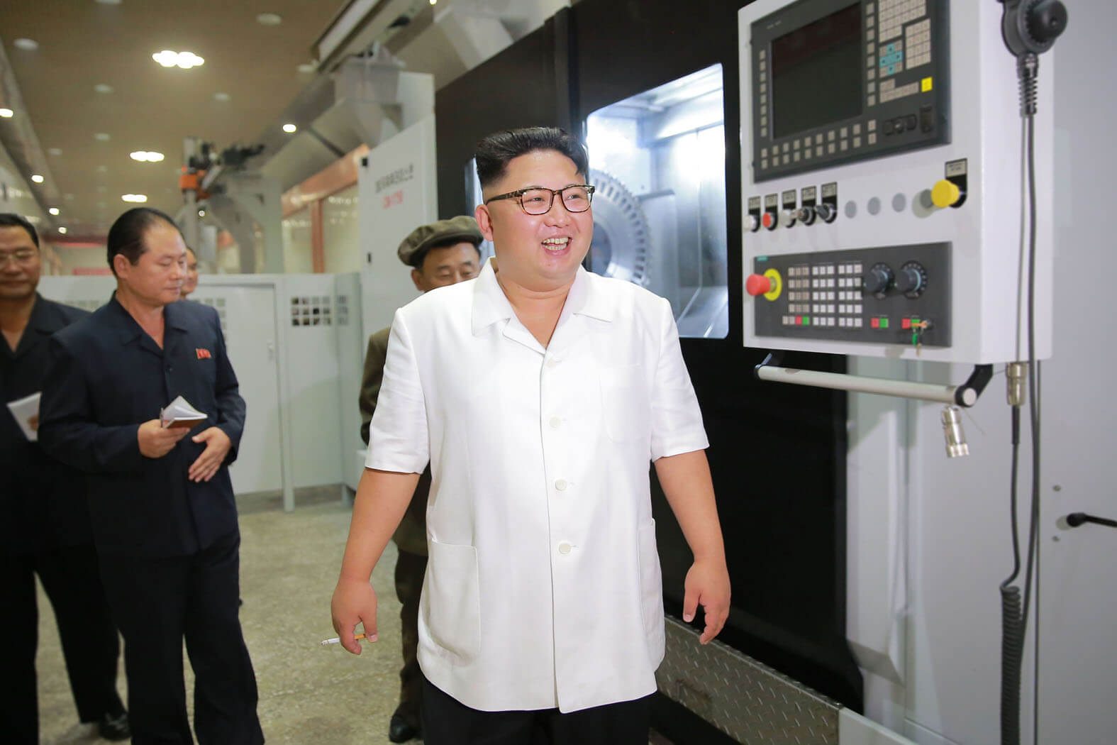 Kim Jong Un inspecting a machine-building factory in August 2016
