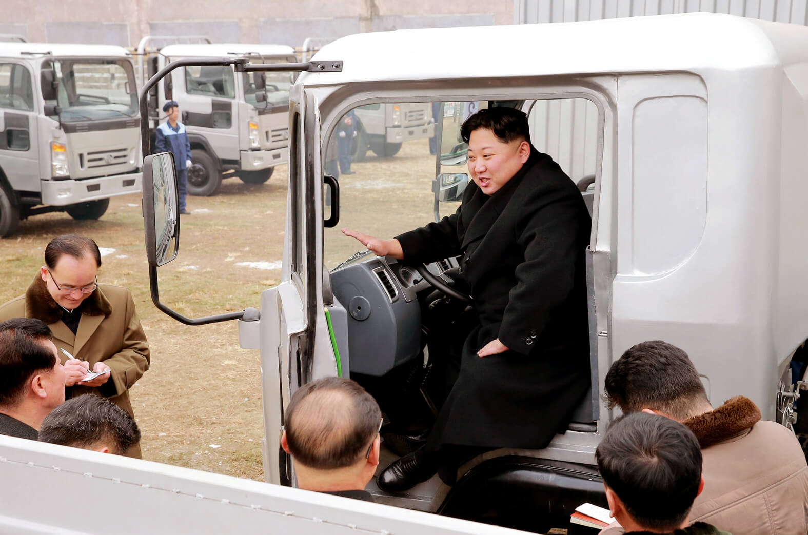 Kim Jong Un visiting the Sungni Motor Complex in November 2017