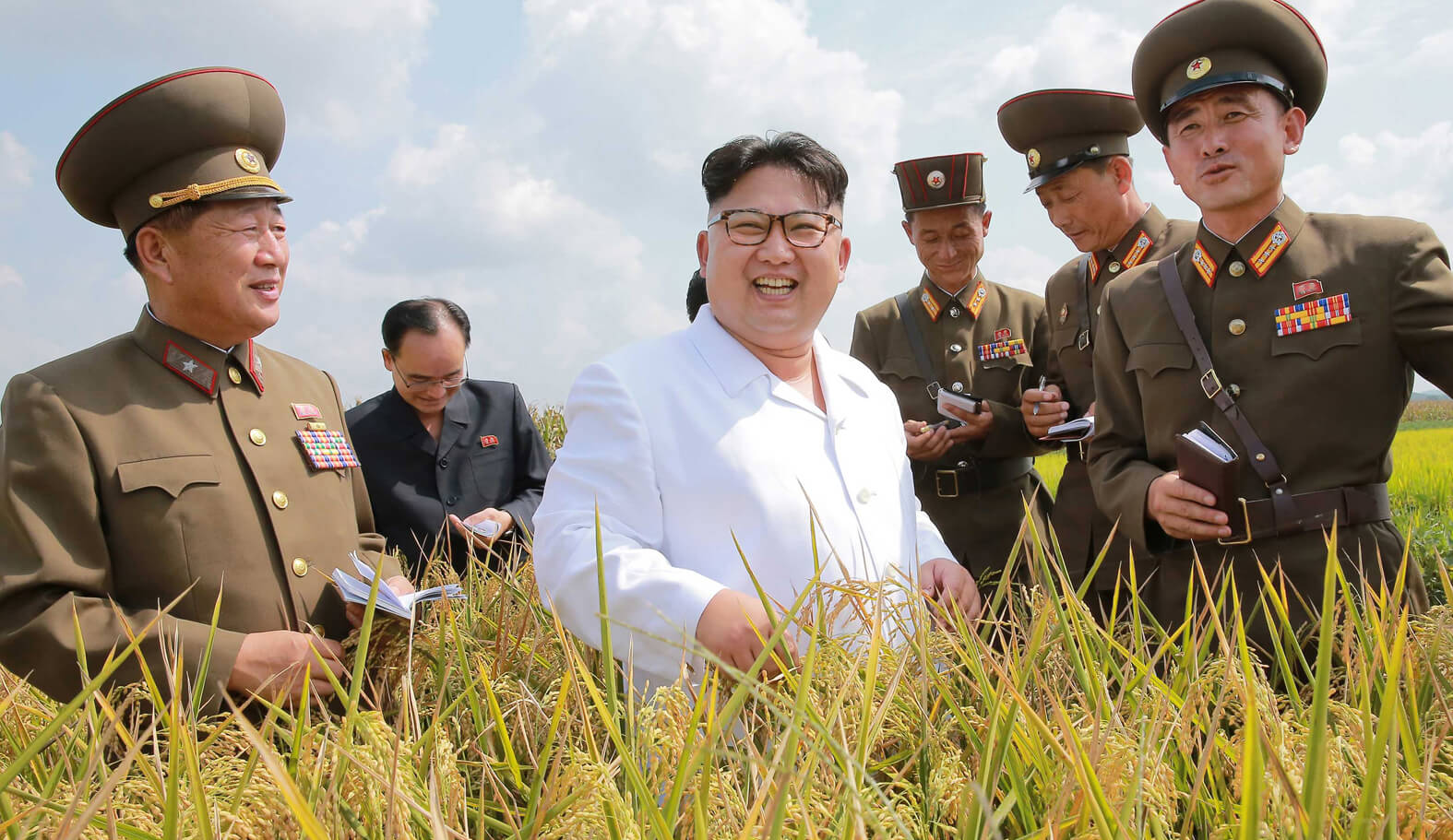 Kim Jong Un seeing a newly-bred high-yielding crop variety in September 2016